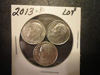 2013 D  ROOSEVELT DIME LOT OF 3 COINS                   WE COMBINE SHIPPING
