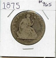 1875 50C LIBERTY SEATED HALF DOLLAR. CIRCULATED. LOT618