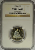 1865 SEATED LIBERTY QUARTER NGC PF 64 STAR CAMEO. SUPER COLOR. PROOF
