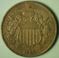 1865 2 CENTS UNITED STATES TYPE COIN COPPER TWO CENT EXTRA FINE EXTRA FINE  Y1