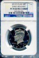 2013 S KENNEDY 50C CLAD HALF DOLLAR NGC CERTIFIED PF70 ULTRACAMEO EARLY RELEASES