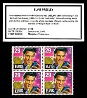 1993   ELVIS PRESLEY MINT NEVER HINGED BLOCK OF FOUR POSTAGE STAMPS