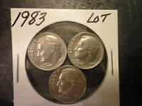 1983 P  ROOSEVELT DIME LOT OF 3 COINS                   WE COMBINE SHIPPING