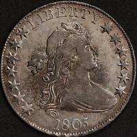 1805 FLOWING HAIR HALF DOLLAR ALMOST UNC DETAILS CLEANED NET EF