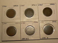 CANADA LOT OF 6 VICTORIAN LARGE CENTS  1859  1888   2473