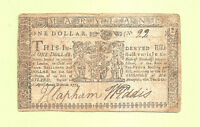 1774 $ 1 MARYLAND COLONIAL CURRENCY HISTORY FINE CONDITION LOW SERIAL 22