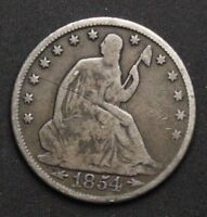 1854 SEATED LIBERTY SILVER HALF DOLLAR OLD US SILVER COINS E147