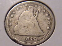 1877 SEATED LIBERTY QUARTER NO ARROWS WITH MOTTO