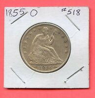 1855 O 50C ARROWS LIBERTY SEATED HALF DOLLAR. ALMOST UNCIRCULATED. LOT364