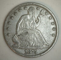 1875 SEATED LIBERTY HALF DOLLAR SILVER US TYPE COIN EXTRA FINE XF