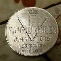 NORWAY 25 KRONER 1970 25TH ANNIVERSARY OF LIBERATION .900 SILVER CROWN VICTORY