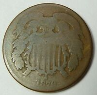 1870 2 TWO CENT COPPER OLD US COIN ITEM 1827
