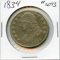 1834 50C CAPPED BUST HALF DOLLAR. CIRCULATED. LOT1736