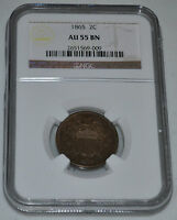 1865 2C TWO CENT PENNY GRADED BY NGC AS AU 55 BN