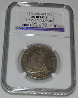 1873 50C ARROWS LIBERTY SEATED SILVER HALF DOLLAR GRADED BY NGC AS AU DETAILS