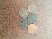 CANADIAN LARGE CENT SET 1859 1876 1881 1882 1884 GOOD SOME TONED DARK