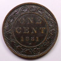 1881H LARGE CENT VF EF HIGH GRADE UNDERVALUED EARLY QUEEN VICTORIA CANADA PENNY