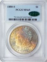 1880 S MORGAN DOLLAR PCGS MS65 WITH CAC LABEL BEAUTIFUL COIN RAIN BOW TONED