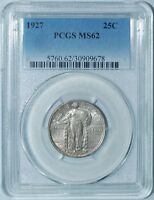 1927 PCGS MINT STATE 62 STANDING LIBERTY QUARTER 25C