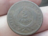 1864 TWO 2 CENT PIECE- LARGE MOTTO- CIVIL WAR TYPE COIN- LOWBALL
