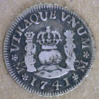 1741 SILVER MEXICO 1/2 HALF REAL COLONIAL MEXICAN COIN VF