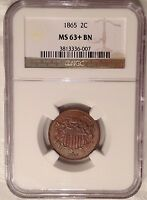 MINT STATE 63 1865 TWO CENT PIECE NGC : FULL MOTTO