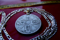 1920 1926 SILVER ENGLISH FLORIN YOUR CHOICE LENGTH .925 STERLING SILVER CHAIN