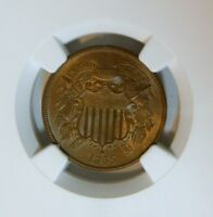 1865 2-CENT PIECE NGC MINT STATE 64BN GORGEOUS GLOSSY HI-END CIVIL WAR OBSOLETE COIN