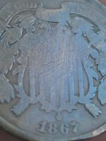 1867 TWO 2 CENT PIECE- CIVIL WAR COIN- SLIGHTLY TONED