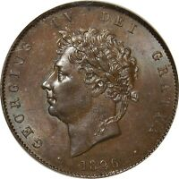 1826 COPPER HALF PENNY GEORGE IV. NGC MS 62. V. UNCIRCULATED . SPINK UNC 325