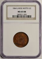 1864 2C LARGE MOTTO RB NGC MINT STATE 65 CIVIL WAR DATE