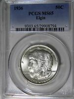 1936 ELGIN ILLINOIS PCGS MINT STATE 65 CHOICE BRILLIANT MINT FRESH GEM