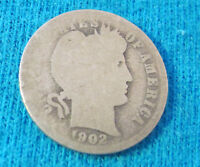 1902  BARBER OR LIBERTY HEAD ONE DIME   90 SILVER US COIN