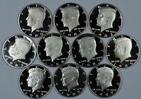 1980   1989 S SET OF KENNEDY PROOF HALF DOLLARS  10 COINS TOTAL  SHIPS FOR FREE