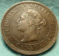1888 XF AU HIGH GRADE CANADA LARGE CENT VICTORIA COIN NO RES CANADIAN