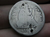1856 S SILVER SEATED LIBERTY QUARTER  HOLED TWICE POSSIBLE BUTTON?