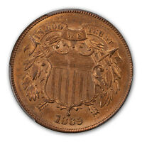 1869 2C TWO CENT PIECE PCGS MINT STATE 65RD