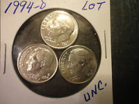 1994 D  ROOSEVELT DIME LOT OF 3 COINS                   WE COMBINE SHIPPING