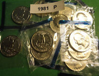 101981P UNCIRCULATED WASHINGTON QUARTERS IN ORIGINAL MINT CELLOPHANE WRAPPERS