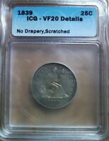 1839 LIBERTY SEATED QUARTER ICG VF20 DETAILS  NO DRAPERY GREAT EYE APPEAL