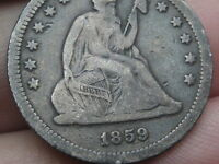 1859 P SEATED LIBERTY QUARTER  FINE/VF DETAILS LIBERTY SHOWS