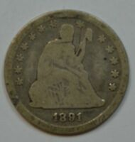 1891 SEATED LIBERTY SILVER QUARTER  AG/G DETAILS  SEE STORE FOR DISCOUNTS GR04