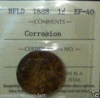 1888 NEWFOUNDLAND ONE CENT  ICCS CERTIFIED