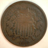 1867 2 CENTS UNITED STATES TYPE COIN COPPER TWO CENT PIECE GOOD G Y1