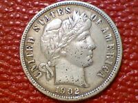 VINTAGE U.S. COINNICE 1902 P  BARBER SILVER DIME BB25