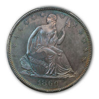 1860 O 50C LIBERTY SEATED HALF DOLLAR PCGS MS65