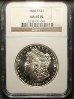 1880 S AND 1881 S MORGAN DOLLAR NGC MS65PL MS65 PROOFLIKE LOT BEAUTIES