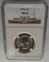 1978 P NGC MS66 WASHINGTON QUARTER 2ND HIGHEST GRADE