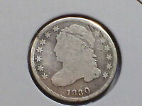 1830 BUST DIME ROTATED DIE BENT FROM 8 10 O'CLOCK OBVERSE IS BENT UP