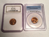 TWO CERTIFIED 1955 S LINCOLN WHEAT CENTS MS 65 RED & MS66 RED